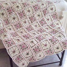 Shabby Chic Rose Garden Crocheted Afghan/Throw