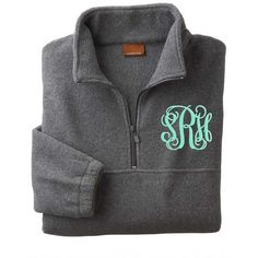 monogrammed/personalized Grey Fleece Pullover ($36) ❤ liked on Polyvore featuring jackets, light pink, outerwear and women's clothing