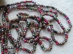ANTIQUE FRENCH STEEL CUT BEADS LOOSE METAL MICRO FACETED SEED SPACER MULTI-COLOR