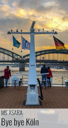 Unsere Flusskreuzfahrt mit der MS ASARA von Phoenix Reisen in die Niederlande. Impressionen vom ablegen in Köln, dem Abendessen und erste Fotos vom Schiff.