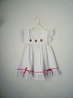 Vintage White Flutter Pinafore Dress Size 3T by OhSydney on Etsy, $15.00