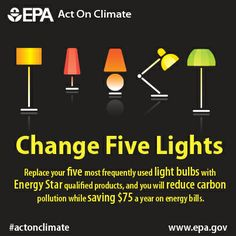 Give Energy Star the green light! Switch to @U.S. Department of Energy STAR light bulbs to save $75 yearly and use 75% less energy. #ActOnClimate