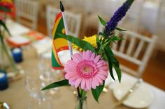 party flowers at brightly coloured party, the garden barn suffolk