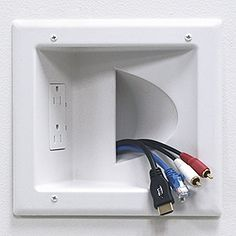 DataComm Electronics 45-0031-WH Recessed Low Voltage Media Plate with Duplex Receptacle, White - Smarthome