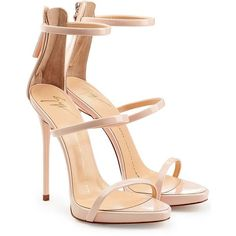 Giuseppe Zanotti Patent Leather Strappy Sandals (€475) ❤ liked on Polyvore featuring shoes, sandals, heels, chaussures, giuseppe zanotti, rose, nude heel sandals, strappy heel sandals, platform shoes and high heel shoes