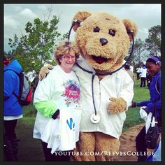 Reeves College instructor with the furry bear at the Walk For Miracles event #reevescollege #instructor #furry #furrybear #bear #toybear #furryanimal #animal #calgary #canada #alberta