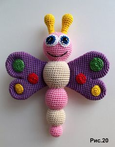 Crochet pattern for baby rattle - Amigurumi Today - Cute dolls etc. # for # crochet pattern Baby rattle crochet pattern - Amigurumi Today - Cute dolls . Crochet Baby Toys, Crochet Patterns Amigurumi, Crochet Animals, Crochet Dolls, Knitting Patterns, Amigurumi Toys, Crochet Butterfly, Butterfly Baby, Crochet Motifs