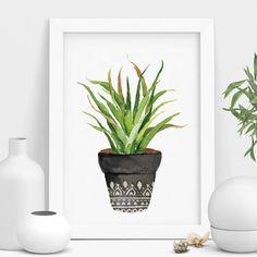 Bohemian Potted Cactus Print