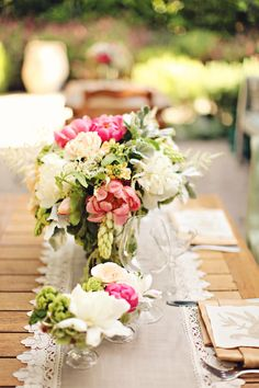 #peony, #table-runners, #centerpiece  Photography: Brandi Smyth Photography - brandismythphotography.com  Read More: http://www.stylemepretty.com/2013/09/06/wiup-san-ysidro-shoot-from-brandi-smyth-photography-winners/