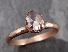 Faceted Fancy cut Champagne Diamond Engagement 14k Rose Gold Solitaire Wedding Ring byAngeline 0786