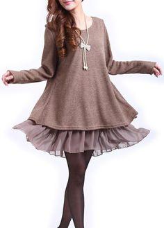 Khaki Long Sleeve Bowknot Decorated Patchwork Dress