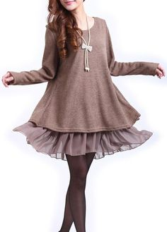 Khaki Long Sleeve Bowknot Decorated Patchwork Dress on sale only US$21.61 now, buy cheap Khaki Long Sleeve Bowknot Decorated Patchwork Dress at lulugal.com