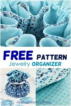Free pattern for jewelry organizer - easy sewing project! This diy jewelry organizer is easy to sew but so useful! Store your rings, bracelets, and necklaces in a cute portable jewelry holder. An organized solution for small items. Cheers to organized jew Beginner Sewing Patterns, Bag Patterns To Sew, Easy Sewing Projects, Free Sewing, Pattern Sewing, Craft Patterns, Sewing Tips, Wood Projects, Jewellery Storage