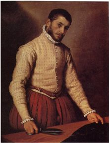 This merchant class fellow follows the fashionable trends of the Elizabethan period. Exceptionally large paned melon hose paired with a narrow shouldered doublet and shirt with ruffled collar all make up a fashionable ensemble. The lower classes were generally a bit behind their wealthy superiors in the race to keep up with fashion. Trends of pervious periods are often maintained longer amongst the middle and lower classes depending on their resources.