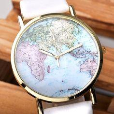 Better Dealz Retro Weltkarte Uhr Lederausstattung Leichtmetall Damen Analoge Quarz Armbanduhr,Weiß: Amazon.de: Uhren