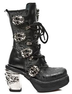 New Rock M8366-S1 NRK Skull Boot 100% Leather Boots Free Worldwide Shipping