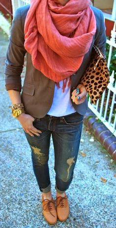 Fall Outfit With Boyfriend Jeans,Scarf and Brown Coat The Best of casual fashion in 2017.