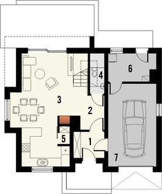 DOM.PL™ - Projekt domu KR ISKRA 3 z garażem CE - DOM KR5-53 - gotowy koszt budowy House Plans, Floor Plans, How To Plan, Studio, Blueprints For Homes, Home Plans, House Design, Study, House Floor Plans
