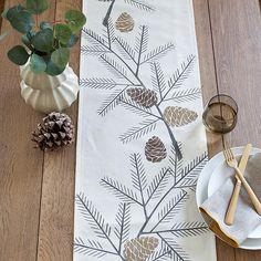 Pine Cone Fall / Holiday Rustic Table Runner