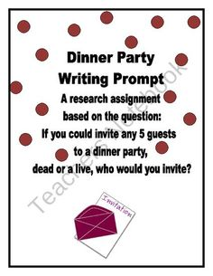 literary dinner party writing assignment