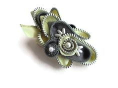 Jewelry Zipper Brooch Statement Pin Corsage by handcraftusa