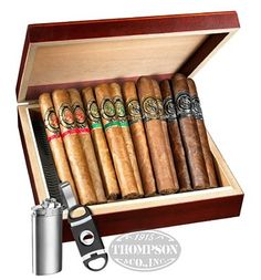 Only $19.95. For premium cigars, plus Cherrywood Finish Humidor, Double Guillotine Cutter, and Butane Lighter. Really good deal!