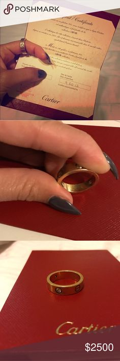 Cartier love ring 3 diamonds   Authentic Cartier love ring in 18k yellow gold. Comes with authenticity papers but no box, sorry. 3 diamonds, that equal .22 carat... RARE  MSRP: $3500, plus tax! SIZE 58. ✖️no trades✖️ Cartier Jewelry Rings