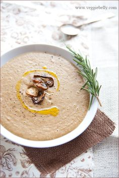 White Bean and Porcini Mushroom Soup #vegan