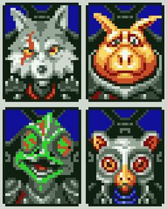 """vgjunk: """" Character portraits of the Star Wolf team from the unreleased Star Fox """" Space Adventure Cobra, Fox Mccloud, Stitch Games, Fox Games, Pixel Characters, Fox Pictures, Isometric Art, Pixel Design, Pixel Games"""