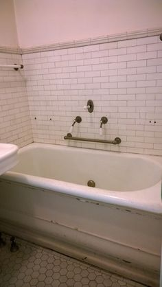 Original unrestored bathroom. 1897 Pleasant Home, designed by George Maher. Queen Anne's Revenge: a very Pleasant Home.