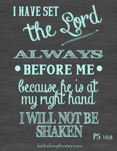 """I have set the Lord always before me because he is at my right hand I will not be shaken."" Psalm 16:8"