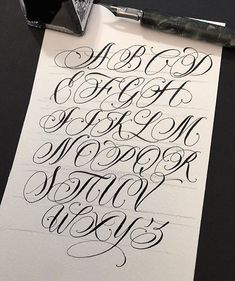 Alphabet by ❌ ❌ Italy 🇮🇹 Tattoo Lettering Alphabet, Calligraphy Tattoo Fonts, Cursive Fonts Alphabet, Letter S Tattoo, Tattoo Lettering Styles, Graffiti Lettering Fonts, Chicano Lettering, Graffiti Alphabet, Script Lettering