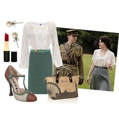 I saved my favorite for last with the above outfit.  On Mary's walk with Matthew, I couldn't get over the lovely simplicity of her ensemble---the lacy white blouse and grayish sage skirt.  She looks simply stunning.  I recreated it as an office-ready outfit.