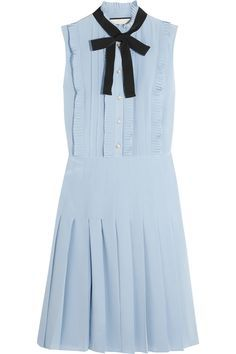 Shop for Ruffled Pleated Silk Crepe De Chine Dress - Sky blue by Gucci at ShopStyle. Cornflower Blue Dress, Blue Silk Dress, Ruffle Dress, Tie Dress, Frilly Dresses, Blue Dresses, Casual Dresses, Short Dresses, Pleated Dresses