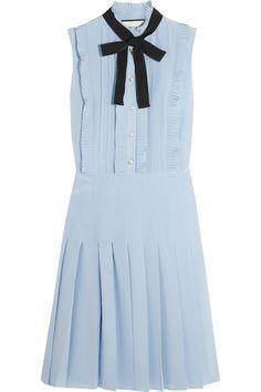 Gucci | Ruffled pleated silk crepe de chine mini dress | NET-A-PORTER.COM