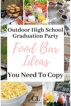 These food bar ideas are perfect for any high school graduation party. 15 delicious high school graduation party spread ideas. #graduation #highschool Pink Graduation Party, Graduation Party Desserts, Outdoor Graduation Parties, Graduation Party Centerpieces, Graduation Party Planning, Graduation Party Themes, Graduation Ideas, Graduation Celebration, Wedding Reception Ideas