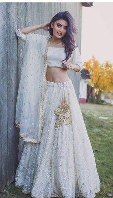 white net thread sequins embroidery indian wedding wear lehenga choli readymade