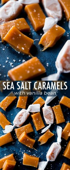 Super soft and chewy sea salt caramels loaded with delicious vanilla bean! Step … Super soft and chewy sea salt caramels loaded with delicious vanilla bean! Step by step recipe on sallysbakingaddic… Köstliche Desserts, Delicious Desserts, Dessert Recipes, Carmel Recipe, Chocolate Sweets, Hot Chocolate, Best Christmas Recipes, Salted Caramel Fudge, Sea Salt Caramel