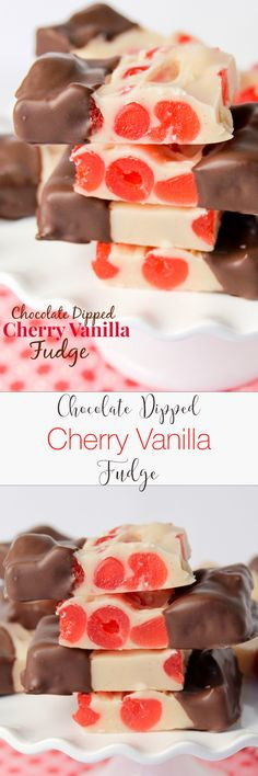 Chocolate Dipped Cherry Vanilla Fudge -- so so pretty! Definitely making a couple of batches to gift for Valentine's Day.
