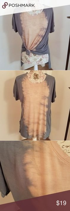 Tie Dye Everyday Tee Awesome tie dye everyday tee! Light blue and tan color. Loose fit. Versatile! Back is a bit longer than front. Raw edges on the bottom.  Price is firm!  100% Rayon Tops Tees - Short Sleeve