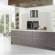 Matt Avola Grey Textured Symphony Kitchen, Contemporary Kitchen Inspiration, Handleless Kitchen, Modern Classic, The Help, Kitchen Cabinets, Storage, Furniture, Grey