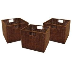 Winsome Wire Decorative Basket Set of 3 - Antique Walnut Small