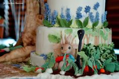 Details of the cake for this Peter Rabbit themed party