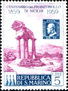 San Marino stamp on Agrigento temples, Sicily (1959)