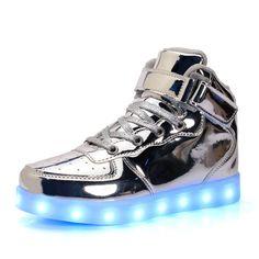 BININBOX Girls High-Top Sneakers Bling Sequins Casual Shoes Kids