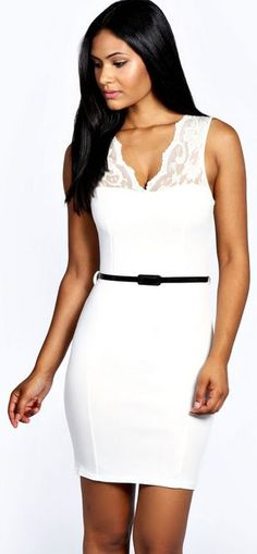 Kelly Scallop Lace Belted Bodycon Dress