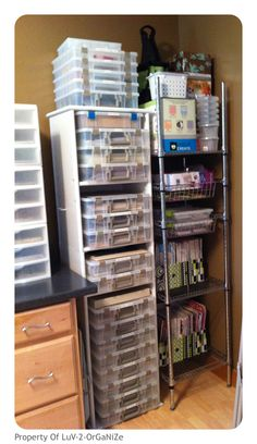 My New Scrapbooking Room <3  www.luv-2-organize.com  Artbin has Amazing 12X12 holders for your projects with a handle