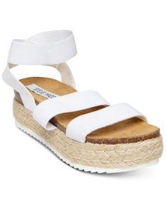 Image 1 of Steve Madden Women's Kimmie Flatform Espadrille Sandals Zapatos Steve Madden, Steve Madden Platform Sandals, Steve Madden Shoes, Black Platform Sandals, Platform Pumps, White Espadrilles, White Sandals, Espadrille Sandals, Wedge Sandal
