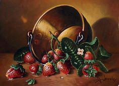 Original Still Life Painting by Dusan Vukovic Oil On Canvas, Canvas Art, Painting Canvas, Strawberry Art, Original Paintings, Original Art, Computer Art, Realism Art, Art For Art Sake