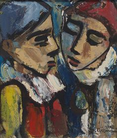"""NIEMANN, HENDRIK CHRISTIAAN (SA 1941 - ) Oil on board, """"Dreaming Clowns"""", signed & dated 2002 (32 x 27cm) South African Artists, Clowns, Abstract Art, Oil, Board, Painting, Frames, Painting Art"""